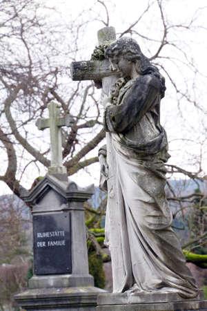 angel cemetery: Angel Sculpture in the cemetery, Bad Neuenahr-Ahrweiler, Rhineland-Palatinate, Germany Stock Photo