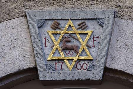lintel: Star of David on the lintel door, Rothenburg ob der Tauber, Bavaria, Germany