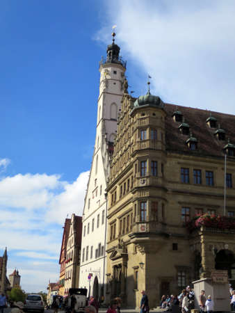 historic town hall in the Old Town, Rothenburg ob der Tauber, Bavaria, Germany Editorial