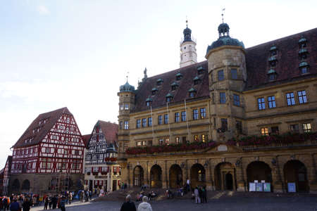 facade baudenkmal: historic town hall in the Old Town, Rothenburg ob der Tauber, Bavaria, Germany Editorial