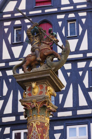 whether: George Fountain on Market Place, Rothenburg ob der Tauber in the marketplace, Bavaria, Germany