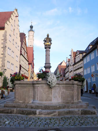 mr: Mr fountain in the Herrengasse, Rothenburg ob der Tauber, Bavaria, Germany Editorial