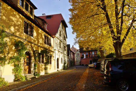 baudenkmal: old houses in the historic Old Town, Rothenburg ob der Tauber, Bavaria, Germany
