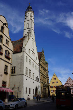 der: historic town hall in the Old Town, Rothenburg ob der Tauber, Bavaria, Germany Editorial