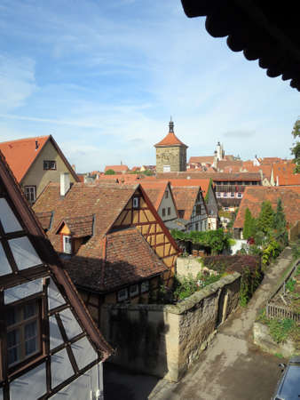 facade baudenkmal: old houses in the historic Old Town, Rothenburg ob der Tauber, Bavaria, Germany