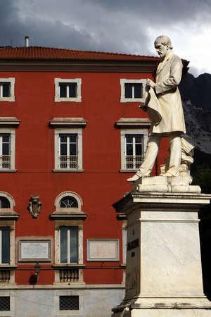 Marble sculpture in Piazza Antonio Gramsci, Carrara, Tuscany, Italy