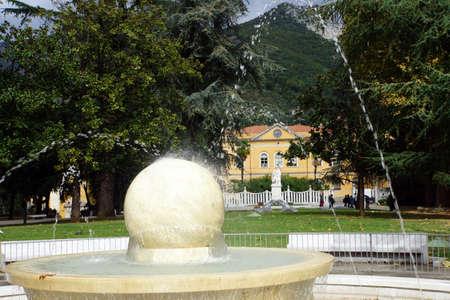 piazza: Marble fountain in Piazza Antonio Gramsci, Carrara, Tuscany, Italy