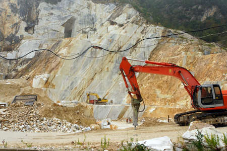 front end loader: Marble mining area in the mountains, Carrara, Tuscany, Italy Stock Photo