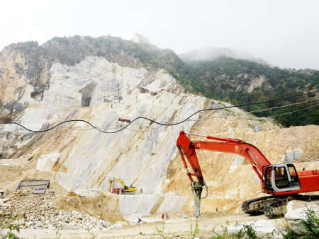 front end: Marble mining area in the mountains, Carrara, Tuscany, Italy Stock Photo
