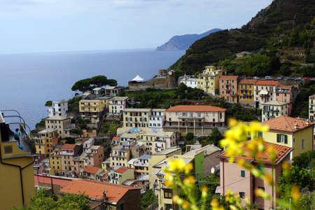 cinque: Overlooking Riomaggiore in the Cinque Terre coasts strip, Liguria, Italy