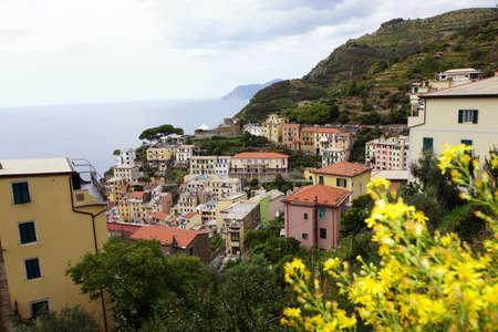 Overlooking Riomaggiore in the Cinque Terre coasts strip, Liguria, Italy