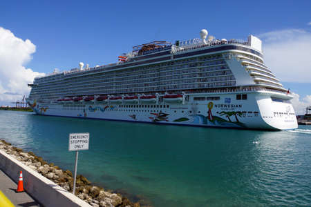 Cruise Ships In The Port Of Miami Florida USA Stock Photo - Miami cruise ship terminal