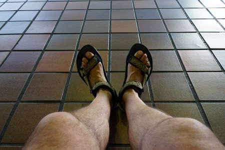 hairy: Men feet in trekking sandals