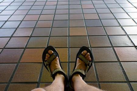 trecking: Men feet in trekking sandals