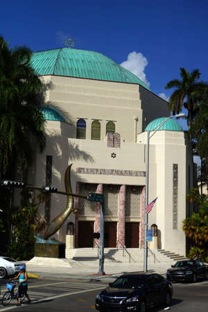 synagoge: Synagoge Tempel Emanu-El, Miami Beach, Florida, USA Editorial