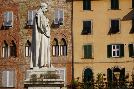lucca: Francesco Burlamacchi monument in Piazza San Michele, Lucca, Tuscany, Italy Editorial
