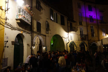 piazza: Evening event on the Piazza Anfiteatro, Lucca, Tuscany, Italy