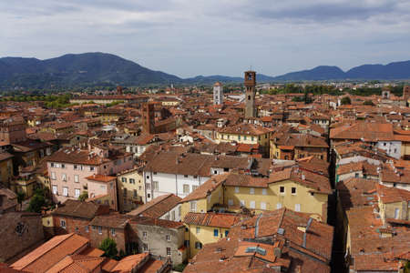 lucca: View from Torre Guinigi over Lucca, Tuscany, Italy