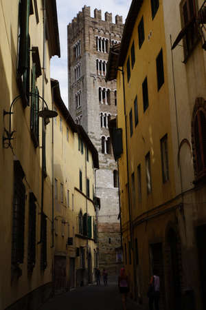 lucca: narrow street in the historic old town, Lucca, Tuscany, Italy