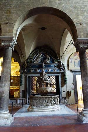 baptismal: Baptismal pool at the Basilica di San Frediano, Lucca, Tuscany, Italy Stock Photo