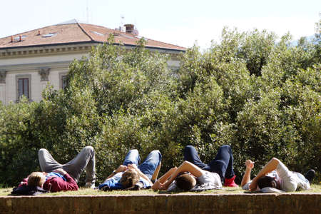 lucca: Siesta on the city walls, Lucca, Tuscany, Italy