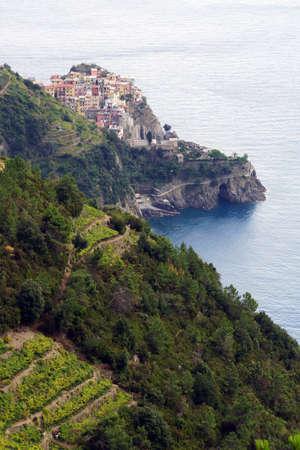 cinque: View of Manarola on Kstenstreifen of Cinque Terre, Liguria, Italy