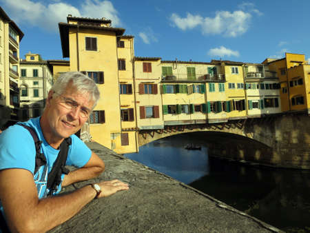arno: Ponte Vecchio over the Arno, Florence, Tuscany, Italy Stock Photo