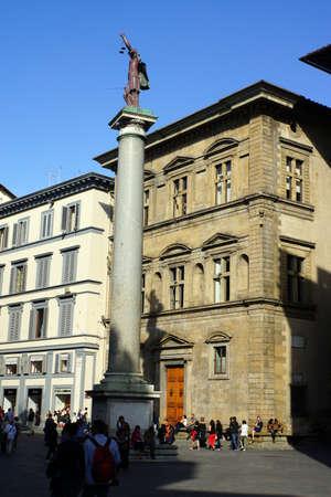 piazza: Justizia monument in Piazza Santa Trinita, Florence, Tuscany, Italy Editorial