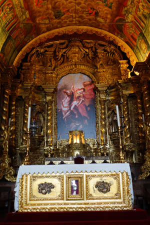 and the magnificent: magnificent altar in the church of Sao Jorge, Madeira, Portugal