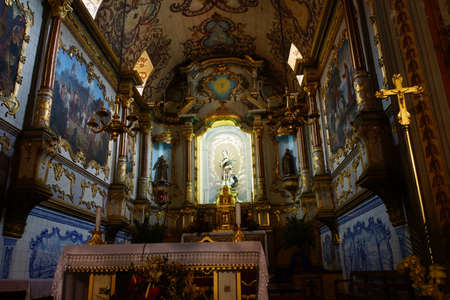 altar: magnificent altar in the church of Sao Vicente, Madeira, Portugal Editorial