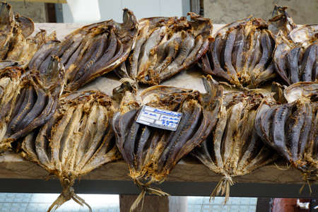 gedroogde vis op de vismarkt Mercado dos Lavradores, Funchal, Madeira, Portugal