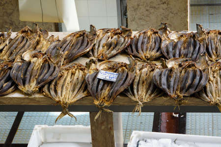 Gedroogde vis op de vismarkt, Funchal, Madeira, Portugal Stockfoto - 56022722
