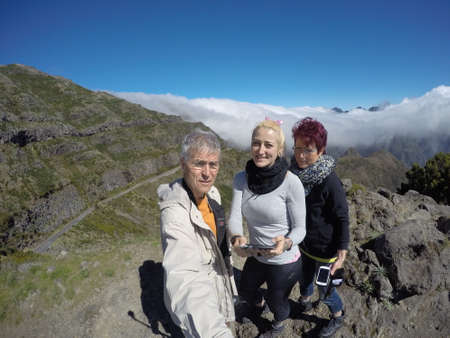 selfy: Families Selfy in the mountains Stock Photo