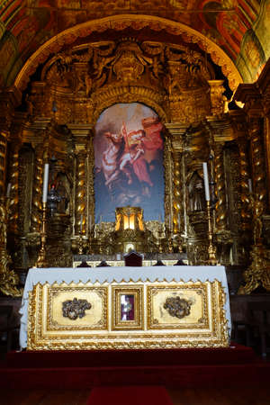 and magnificent: magnificent altar in the church of Sao Jorge, Madeira, Portugal