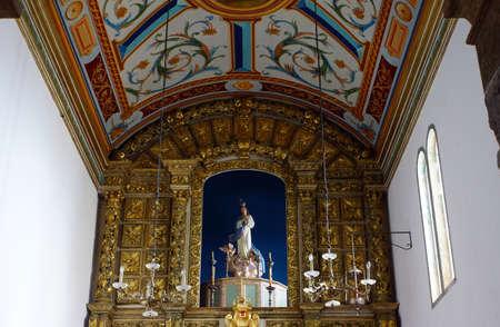pompous: pompous altar in the parish church of Porto Moniz, Madeira, Portugal