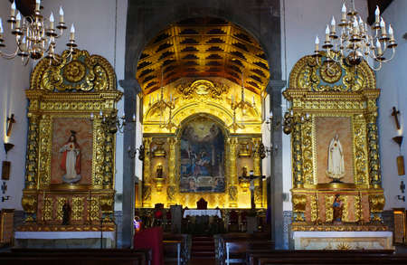 parish: pompous altar in the parish church, Santana, Madeira, Portugal