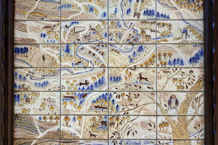 ceramic tiles: Clay, ceramic in Kannenbaeckerland - Map of ceramic tiles, Hoehr-Grenzhausen, Rhineland-Palatinate, Germany Stock Photo