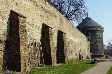 serviceable: City wall and watchtower, Andernach, Rheinland-Pfalz, Germany Stock Photo