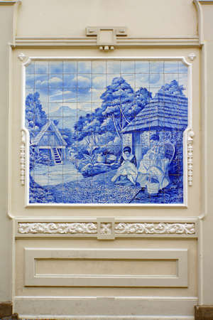 blau: Tile picture with historical scene in the Old Town, Funchal, Madeira, Portugal