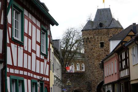 fachwerk: Upper Gate and historic city wall, Bad Neuenahr, Rheinland-Pfalz, Germany