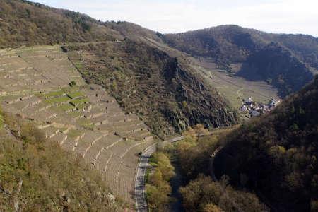 viniculture: View from castle Are on Reimerzhoven, Altenahr, Rheinland-Pfalz, Germany