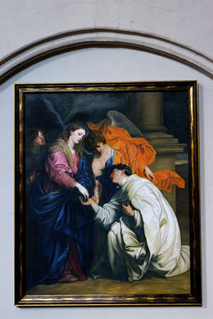 betrothal: Steinfeld monastery - Painting the mystical betrothal of Blessed Hermann Joseph with Mary by Anthony van Dyck, Kall, North Rhine-Westphalia, Germany Editorial