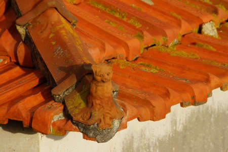 red clay: red clay roof tiles, Canico, Madeira, Portugal Stock Photo