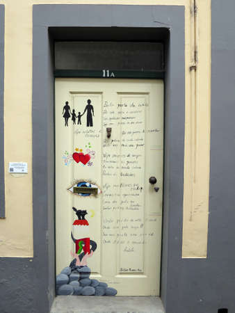 projekt: artistically designed door in the harbor district, Funchal, Madeira, Portugal Editorial