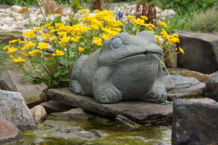 garden pond: frog of stone around the garden pond