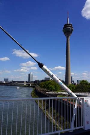 pedestrian bridges: Pedestrians and cyclists bridge in the Media Harbour, Dusseldorf, Nordrhein-Westfalen, Germany Editorial