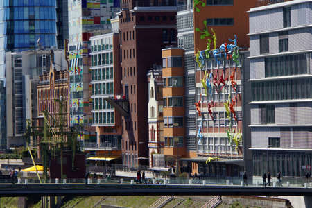 diversified: diversified rich architecture in the Media Harbour, Dusseldorf, Nordrhein-Westfalen, Germany Editorial
