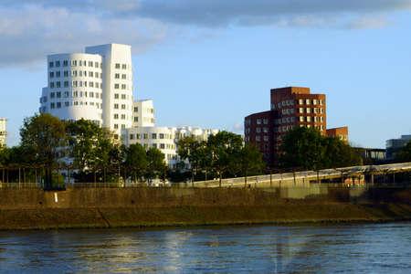 diversified: varied architecture in the Media Harbour, Dusseldorf, Nordrhein-Westfalen, Germany