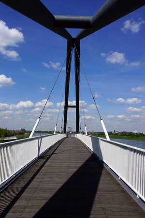 pedestrian bridges: pedestrian and cyclist bridge in the Media Harbour, Dusseldorf, Nordrhein-Westfalen, Germany Stock Photo