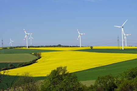 powerplants: Overlooking hill with wind powerplants near Berg, Mechernich, Nordrhein-Westfalen, Germany